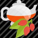 berry, kettle, tea, viburnum