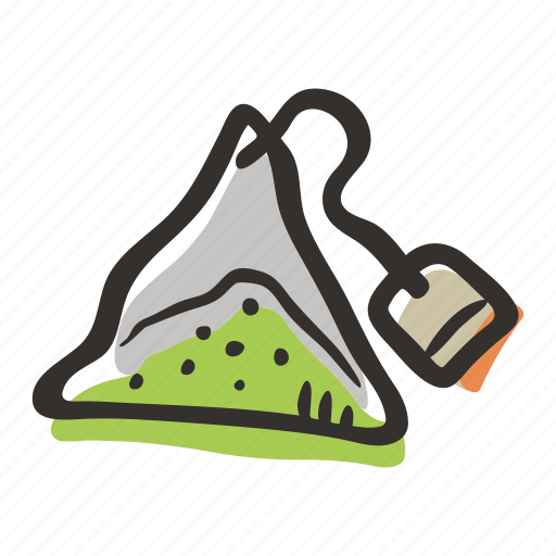 drink, green tea, hot drink, pyramid tea, tea, tea bag, tea leaves icon