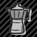 beverage, coffee maker, coffee pot, coffee press, espresso, moka pot icon