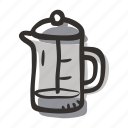 brew, coffee press, cold coffee, french press, hot coffee, press icon