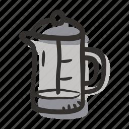 brew, coffee press, cold coffee, french press, hot coffee, press icon