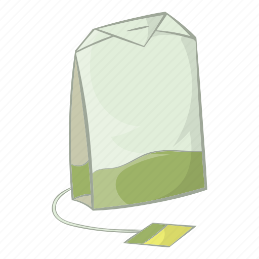 bag, beverage, cartoon, drink, label, tea, teabag icon