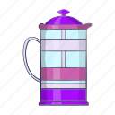 beverage, caffeine, cartoon, coffee, glass, pot, press icon