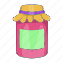 breakfast, cartoon, fruit, homemade, jam, jar, jelly icon