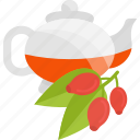 berry, ceremony, kettle, tea icon