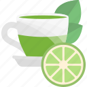 ceremony, fruit, lime, tea icon