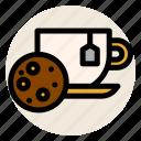 cookie, cup, drink, hot drink, mug, tea, tea bag icon