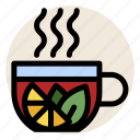 cup, drink, herbal tea, hot drink, lemon, mug, tea icon