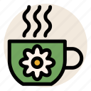 cup, drink, flower, herbal tea, hot drink, mug, tea icon