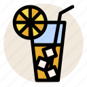 beverage, cold drink, cup, glass, ice, ice tea, tea icon