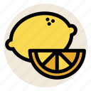 fresh, fruit, lemon, lemon juice, lemons, slice icon