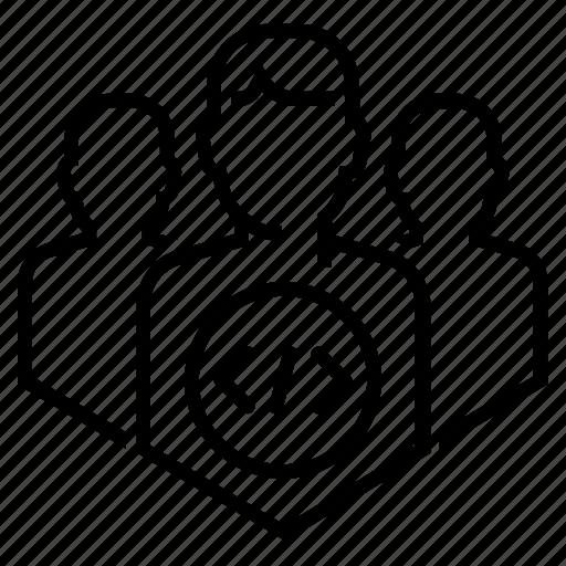 coder, coding, department, developer, development, hacker, team icon