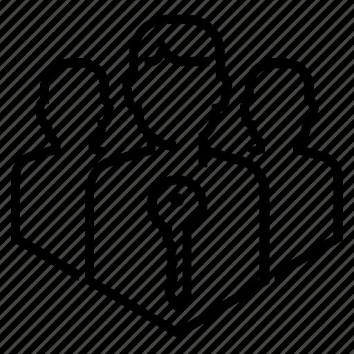access, community, enter, group, key, login, team icon