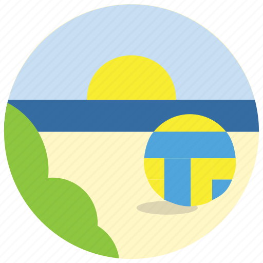 beach, bush, sea, sports, sun, volleyball icon