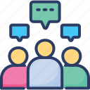 panel, meeting, classes, conversation, discussion, text, comments icon
