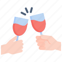 alcohol, beverage, celebration, cheers, drink, friendship, wine icon