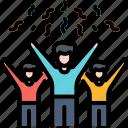 achievement, celebration, cerebrate, cheers, effectiveness, friendship, success