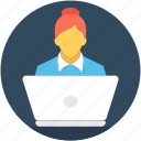 female, freelancer, lecture, presentation, public speaker icon