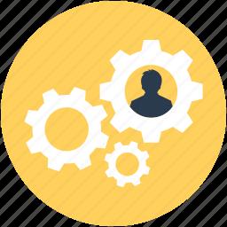 cog, leadership, management, team head, worker icon