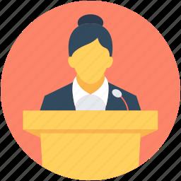 conference, lecture, presentation, public speaker, speech icon