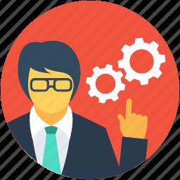 cog, leader, management, team head, worker icon