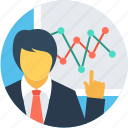 business presentation, businessman, businessperson, man, presentation icon
