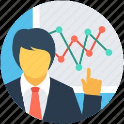 business presentation, businessman, businessperson, man, presentation icon
