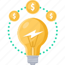 bulb, business, idea, light, make money, money icon