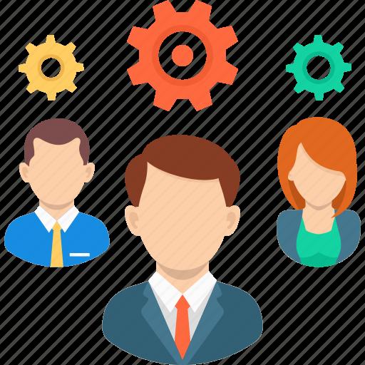 avatar, business, gear, management, strategy, teamwork icon