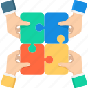 business, cooperate, cooperation, hand, partnership, puzzle icon