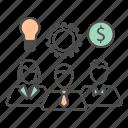 business, gear, idea, money, team, teamwork