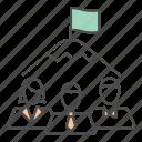business, flag, peak, team, teamwork, top icon