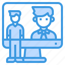 computer, interview, meeting, online, technology icon