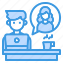 interview, office, online, support, talk icon