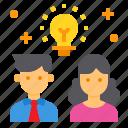brainstorm, innovation, lightbulb, partner, team