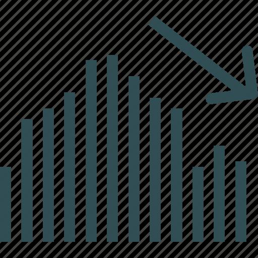analysis, decrease, statistics, stats icon