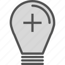 brightness, lightbulb, plus icon