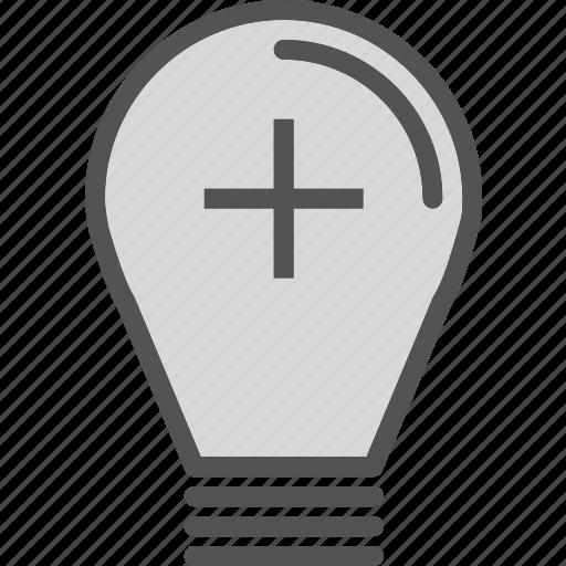 Brightness, lightbulb, plus icon - Download on Iconfinder