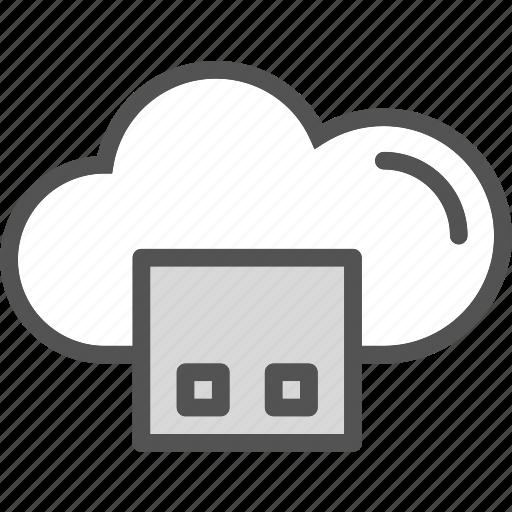 accessusb, cloud, memory, online, plug, stick, upload icon