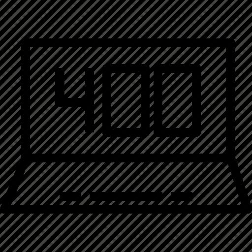 display, error, fourhundre, laptop icon