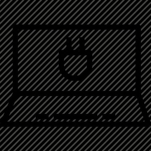 adapterin, connection, display, electric, error, laptop, plug icon