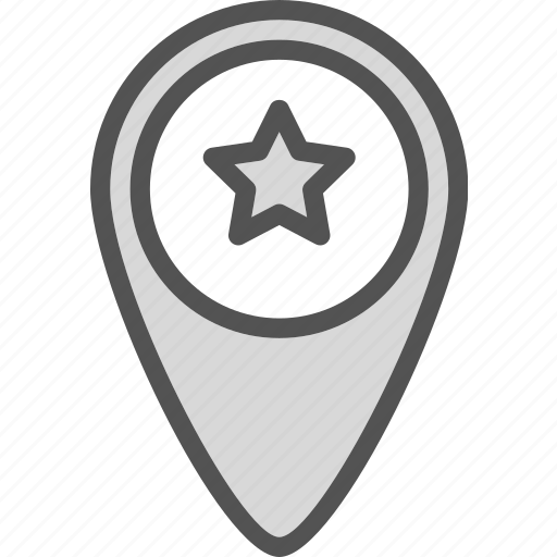 map, pin, point, star icon
