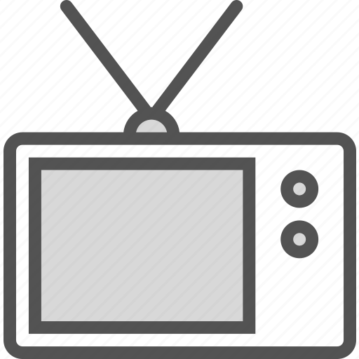 old, screen, small, tv, vintage icon
