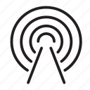 broadcast, radar, show, soundwaves, station icon