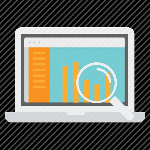 analysis, analytics, bar, graphs, laptop, loss, sales report icon