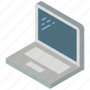iso, isometric, laptop, tech, technology icon