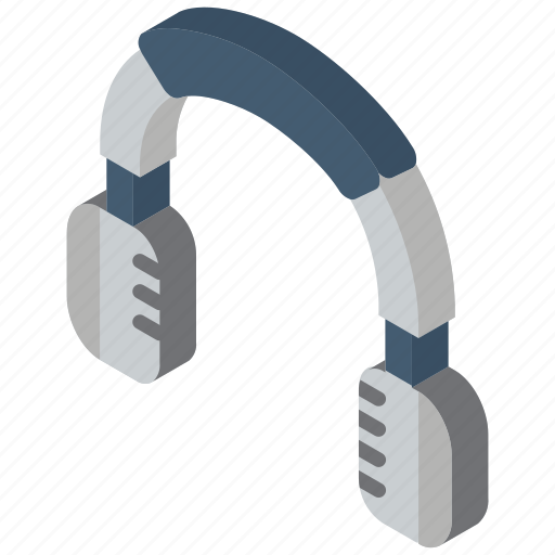 headphones, iso, isometric, tech, technology icon