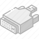 connection, iso, isometric, tech, technology, vga icon