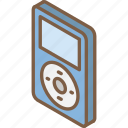 ipod, iso, isometric, tech, technology icon