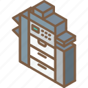 iso, isometric, printer, tech, technology icon
